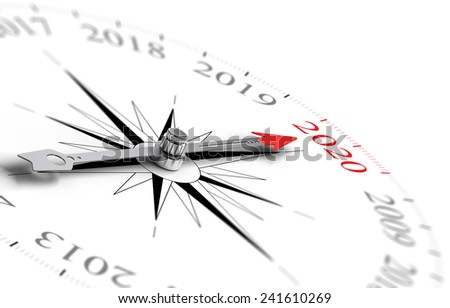 Conceptual compass with needle pointing the year 2020, black and red tones over white background. Concept image for illustration of future. - stock photo