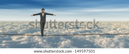 Conceptual concept of 3D businessman or man in crisis walking in balance on rope above clouds sky background,metaphor to business,danger,risk,risky,finance,fall,dangerous,equilibrium,hazard or success - stock photo