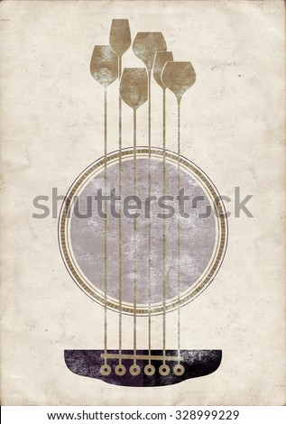 Conceptual creative illustration with acoustic guitar hole and wine glasses as the strings - stock photo