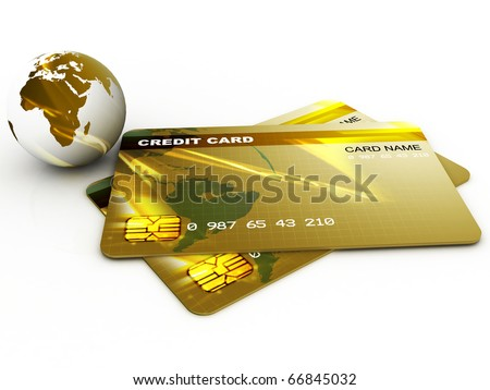 Conceptual credit card with globe - stock photo