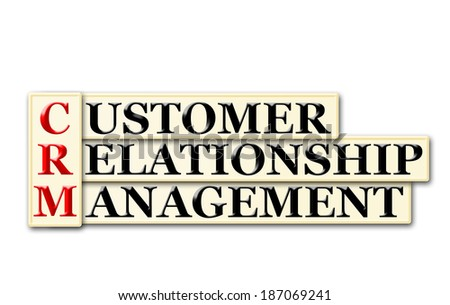 Conceptual CRM Consumer Relationship  Management  acronym on white - stock photo