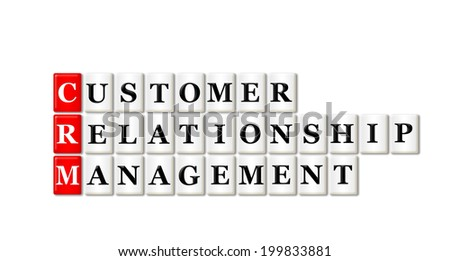 Conceptual CRM Customer Relationship Management acronym on white  - stock photo