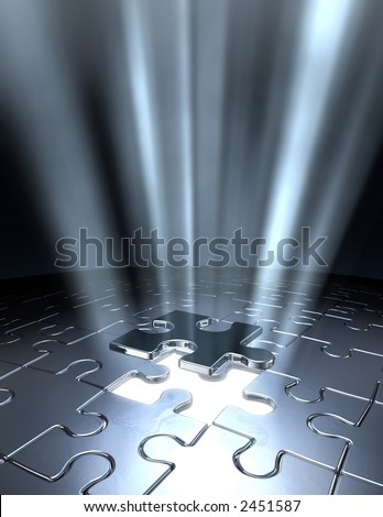Conceptual 3D art showing the last Jigsaw puzzle piece coming down into it's place. - stock photo