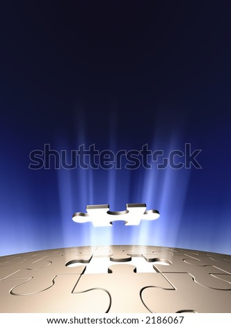 Conceptual 3D art showing the last Jigsaw puzzle piece coming down into it's place. Lots of copyspace - stock photo