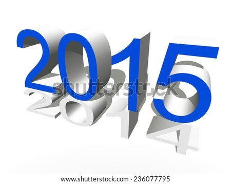 Conceptual 3D blue 2015 new year text standing out of the crowd isolated on white background - stock photo