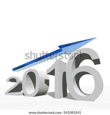 Conceptual 3D blue 2016 year symbol with an arrow isolated on white for success, growth, graph, future, finance, financial, new year, holiday, increase, rise, date, career, forecast progress december - stock photo