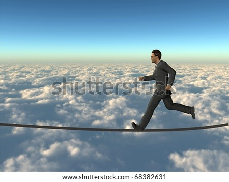 Conceptual 3D businessman running on a rope above the clouds. The man is a render of a virtual 3D model.