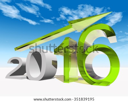 Conceptual 3D green 2016 year symbol with an arrow on blue sky for success, growth, graph, future, finance, financial, new year, holiday, increase, rise, date, career, forecast or progress december - stock photo