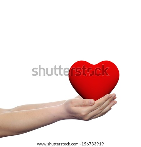 Conceptual 3D heart held in human or woman hands isolated on white background