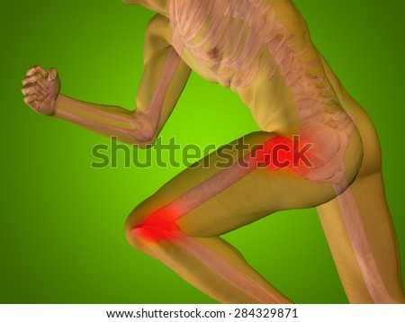 Conceptual 3D human man anatomy health design, joint, articular pain, ache, injury on green gradient background for medical, fitness, medicine, bone, care, hurt, osteoporosis, painful, arthritis, body - stock photo