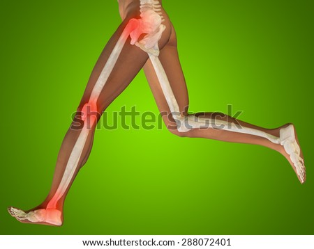 Conceptual 3D human man anatomy, health design, joint, articular pain, ache, injury on green gradient background for medical, fitness, medicine, bone, care, hurt, osteoporosis, painful, arthritis body - stock photo