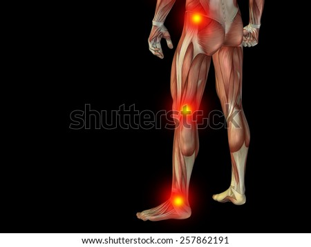 Conceptual 3D human man anatomy or health design, joint or articular pain, ache or injury isolated on black background, for medical, fitness, medicine, bone, care, hurt, osteoporosis arthritis or body - stock photo