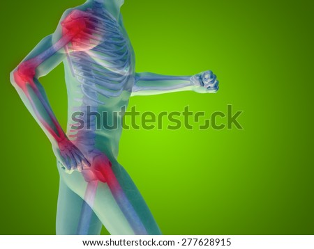 Conceptual 3D human man anatomy or health design joint or articular pain ache or injury on green gradient background for medical fitness medicine bone care hurt osteoporosis painful arthritis or body - stock photo