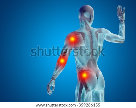 Conceptual 3D human man anatomy upper body or health design, joint or articular pain, ache or injury on blue background for medical, fitness, medicine, bone, care, hurt, osteoporosis arthritis or body