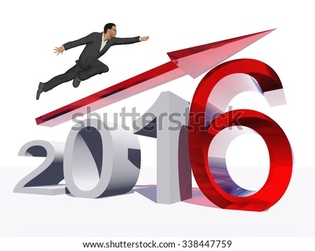 Conceptual 3D human,man or businessman flying over an red 2016 year symbol with an arrow isolated on white for economy, growth, future, finance, progress, success, improvement, profit designs - stock photo