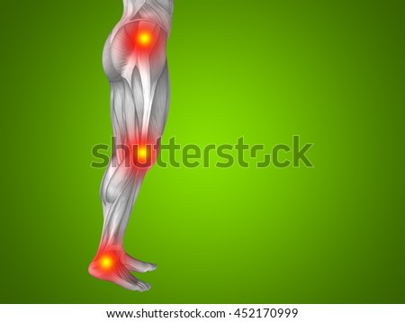 Conceptual 3D illustration human man anatomy lower body health design, joint articular pain, ache injury on green background for medical, fitness, medicine, bone, care hurt osteoporosis arthritis body - stock photo
