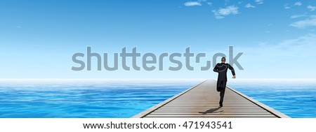 Conceptual 3D illustration of old wood or wooden deck pier on coast of exotic blue clear sea, ocean waves with a businessman running, sky background, for vacation, tourism business, success or vision
