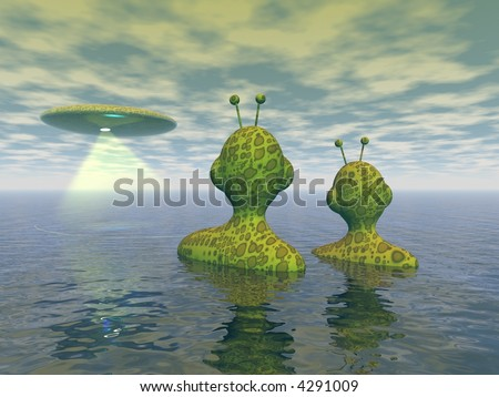Conceptual 3d illustration of two aliens looking at the mothership - stock photo