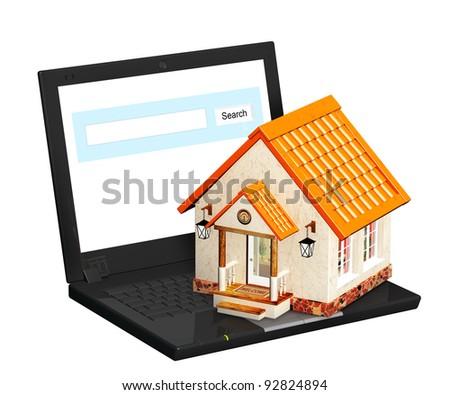 Conceptual 3d image - home Internet - stock photo
