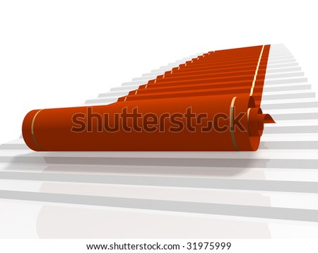 Conceptual 3d image - red carpet - stock photo