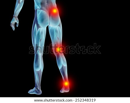Conceptual 3D  lower body anatomy or health design, joint or articular pain ache or injury on black background for medical fitness, medicine, bone, care, hurt, osteoporosis, painful, arthritis or body - stock photo