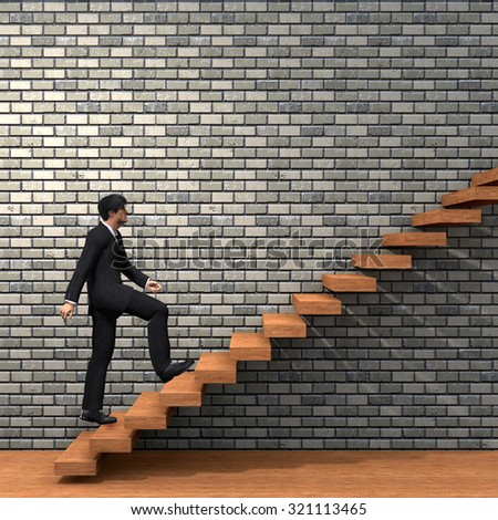 Conceptual 3D man or  businessman climbing on a stair or steps near a wall background metaphor to success, climb, business, rise, achievement, growth, job, career, leadership, education, goal, future - stock photo