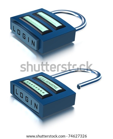 conceptual 3D padlock with username, password and login button over a white background, one is close and the other is open - stock photo