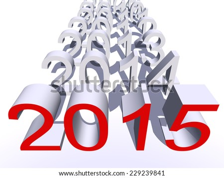 Conceptual 3D red 2015 new year text standing out of the crowd isolated on white background - stock photo