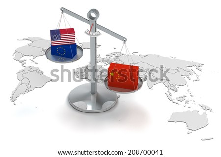 conceptual 3d render concerning the increased chinese power - stock photo