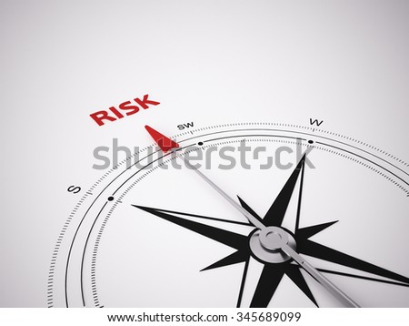 Conceptual 3D render image with a frameless Compass focus on the word Risk - stock photo