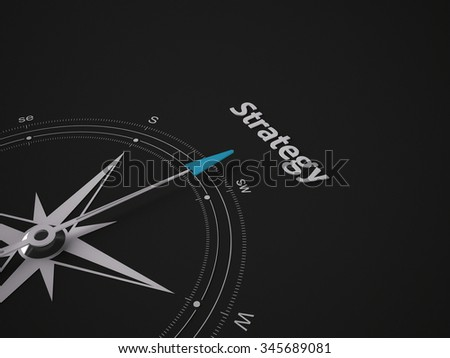 Conceptual 3D render image with a frameless Compass focus on the word Strategy - stock photo