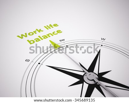 Conceptual 3D render image with a frameless Compass focus on the words Work life balance - stock photo