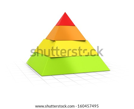 Conceptual 3D render of a four layers pyramid over perspective background.  - stock photo