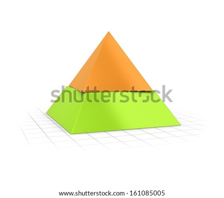 Conceptual 3D render of a two layers pyramid over perspective background.  - stock photo
