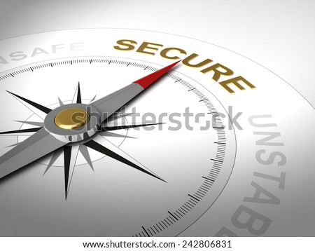Conceptual 3D render of compass with needle pointing the word secure - stock photo