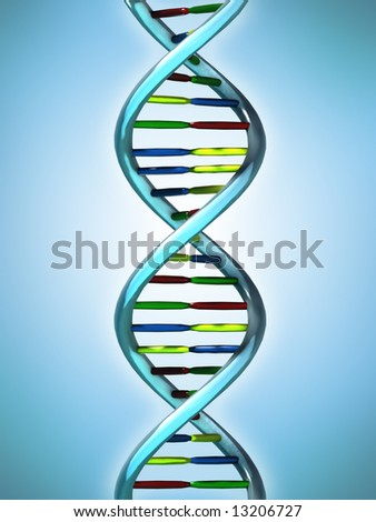 Conceptual 3D render of DNA strands. Medical research and Biotechnology. - stock photo