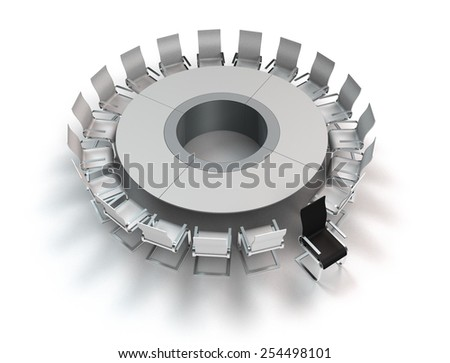conceptual 3D rendering showing a meeting table with opposition - stock photo