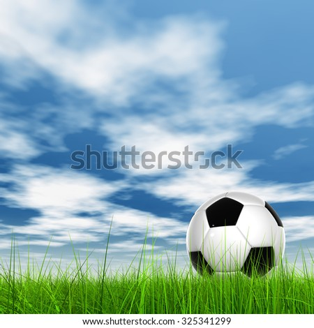 Conceptual 3D soccer ball in fresh green summer or spring field grass with a blue sky background banner metaphor to sport, goal, competition, play, team, fun, stadium, meadow, activity soccerball