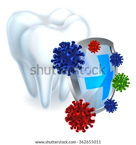 Conceptual dental illustration of a shield protecting a tooth from bacteria - stock photo