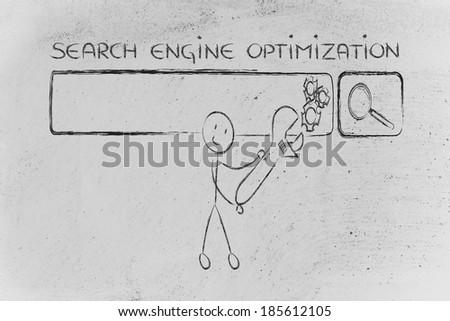conceptual design about search engine optimization - stock photo