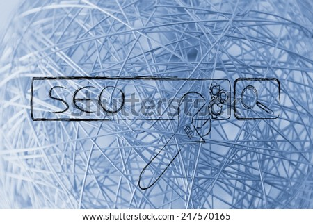 conceptual design about search engine optimization with search bar and wrench - stock photo