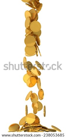conceptual design of falling golden coins.(screen filling with coins.central version) - stock photo