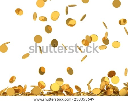 conceptual design of falling golden coins.(screen filling with coins.low level version) - stock photo