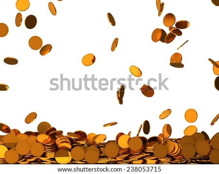 conceptual design of falling golden coins.(screen filling with coins.mid level version) - stock photo