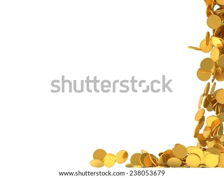 conceptual design of falling golden coins.(screen filling with coins.right side version) - stock photo