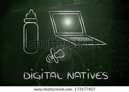 conceptual design of the digital native, the generations born in the internet age