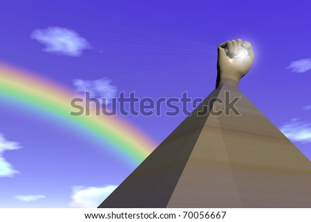 Conceptual digital design symbolizing the fight for freedom in Egypt - stock photo
