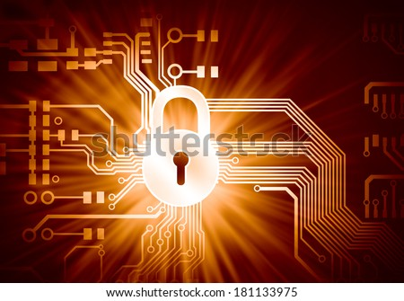 Conceptual digital image of mother board with lock - stock photo