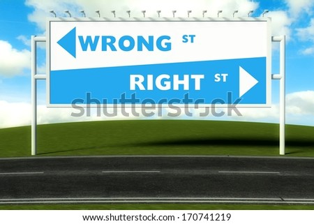 Conceptual direction signs lead to wrong or right, concept - stock photo