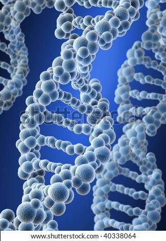 Conceptual DNA structure on blue background - 3d render - stock photo